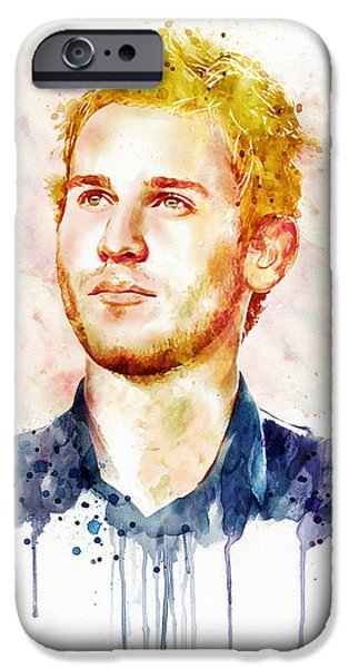 Celebrities Mixed Media iPhone Cases - Jason Wade watercolor iPhone Case by Marian Voicu