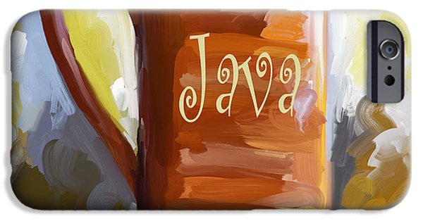 Experience Paintings iPhone Cases - Java Coffee Cup iPhone Case by Jai Johnson