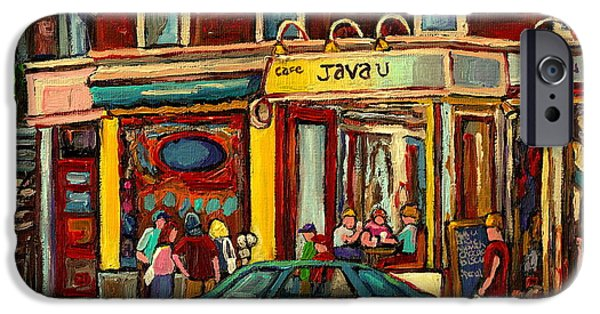 Canadian Culture Paintings iPhone Cases - Java U Coffee Shop Montreal Painting By Streetscene Specialist Artist Carole Spandau iPhone Case by Carole Spandau