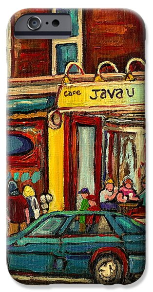 JAVA U COFFEE SHOP MONTREAL PAINTING BY STREETSCENE SPECIALIST ARTIST CAROLE SPANDAU iPhone Case by CAROLE SPANDAU