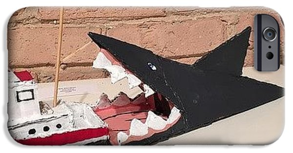 Sharks Sculptures iPhone Cases - Jaws iPhone Case by William Douglas
