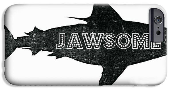 Aquatic Mixed Media iPhone Cases - Jawsome iPhone Case by Michelle Calkins