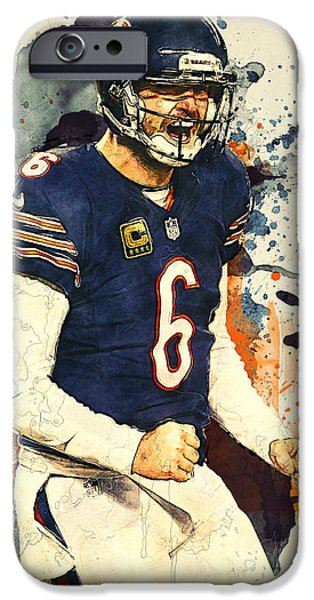 Soldier Field Digital Art iPhone Cases - Jay Cutler  iPhone Case by Taylan Soyturk
