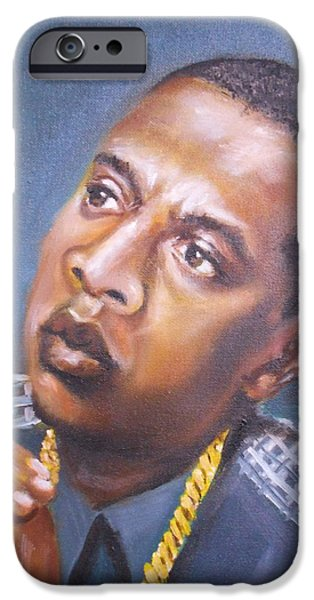 Jay Z Paintings iPhone Cases - Jay-Z iPhone Case by Ronnie Melvin