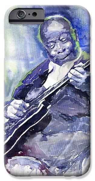 B.b.king iPhone Cases - Jazz B B King 02 iPhone Case by Yuriy  Shevchuk