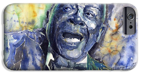 B.b.king iPhone Cases - Jazz B.B.King 04 Blue iPhone Case by Yuriy  Shevchuk