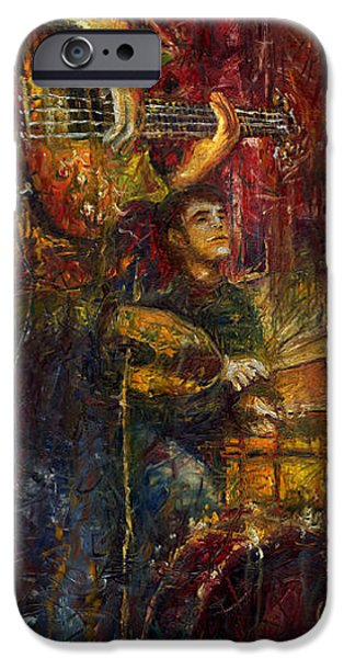 Figurativ iPhone Cases - Jazz Bass Guitarist iPhone Case by Yuriy  Shevchuk