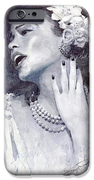 Song Paintings iPhone Cases - Jazz Billie Holiday iPhone Case by Yuriy  Shevchuk