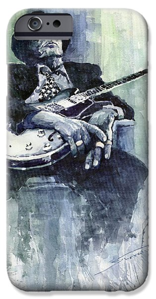 Portret iPhone Cases - Jazz Bluesman John Lee Hooker 04 iPhone Case by Yuriy  Shevchuk