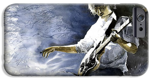 Figurativ iPhone Cases - Jazz Guitarist Last Accord iPhone Case by Yuriy  Shevchuk