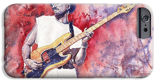 Miller iPhone Cases - Jazz Guitarist Marcus Miller Red iPhone Case by Yuriy  Shevchuk