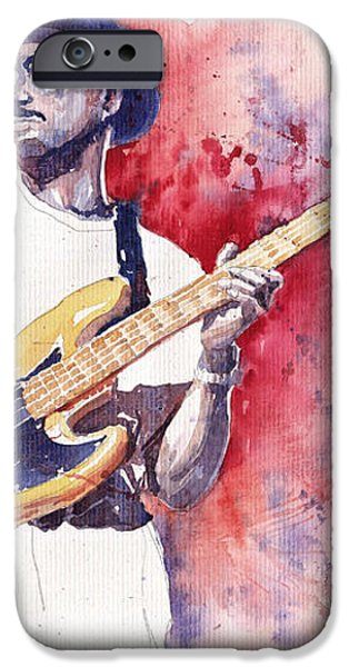 Jazz Guitarist Marcus Miller Red iPhone Case by Yuriy  Shevchuk