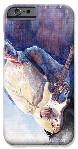 Figurativ iPhone Cases - Jazz Guitarist Rene Trossman iPhone Case by Yuriy  Shevchuk