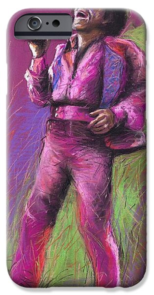 Figurativ iPhone Cases - Jazz James Brown iPhone Case by Yuriy  Shevchuk