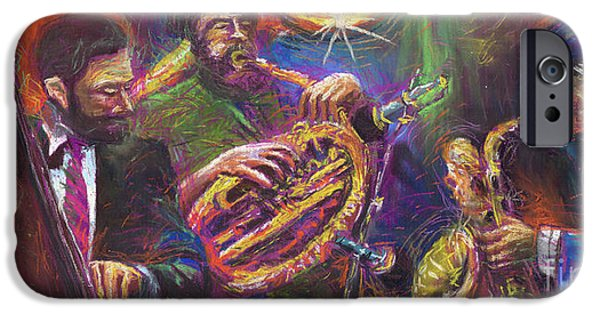 Pastel Paintings iPhone Cases - Jazz Jazzband Trio iPhone Case by Yuriy  Shevchuk
