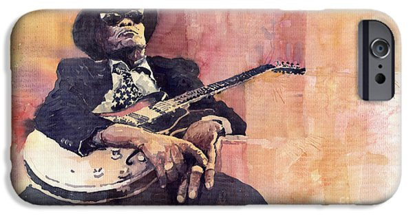 Legend iPhone Cases - Jazz John Lee Hooker iPhone Case by Yuriy  Shevchuk