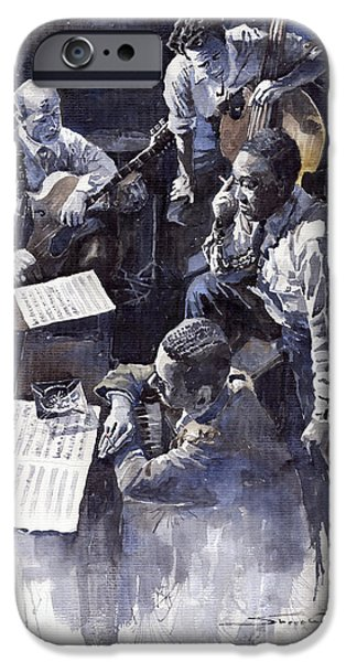 Piano iPhone Cases - Jazz Parker Tristano Bauer Safransky RCA studio NY 1949 iPhone Case by Yuriy  Shevchuk