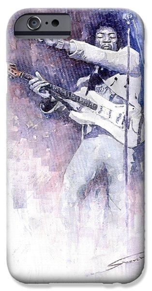 Jimi Hendrix iPhone Cases - Jazz Rock Jimi Hendrix 07 iPhone Case by Yuriy  Shevchuk