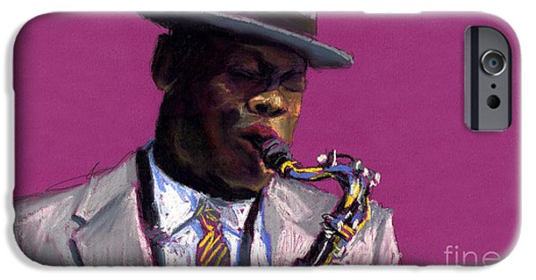 Figurativ iPhone Cases - Jazz Saxophonist iPhone Case by Yuriy  Shevchuk
