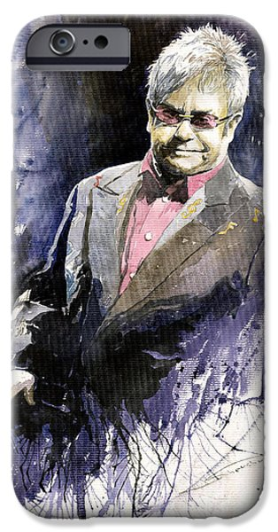 Elton John Paintings iPhone Cases - Jazz Sir Elton John iPhone Case by Yuriy  Shevchuk