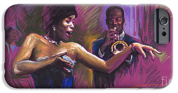 Music Drawings iPhone Cases - Jazz Song.2. iPhone Case by Yuriy  Shevchuk