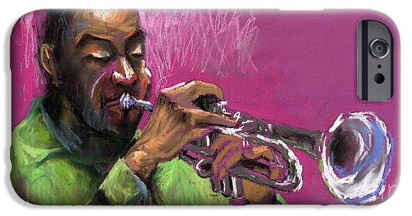 Figurativ iPhone Cases - Jazz Trumpeter iPhone Case by Yuriy  Shevchuk