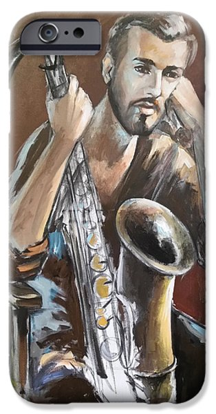 Young Paintings iPhone Cases - Jazz iPhone Case by Vali Irina Ciobanu