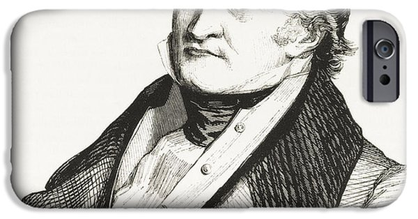 Swiss Drawings iPhone Cases - Jean Charles L iPhone Case by Ken Welsh