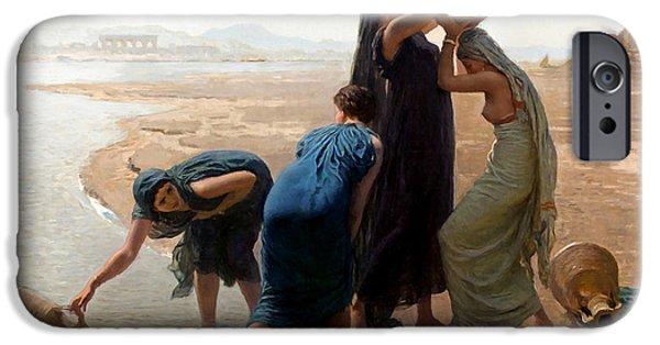 Water Jars Paintings iPhone Cases - Jean Franois Women Village iPhone Case by Munir Alawi