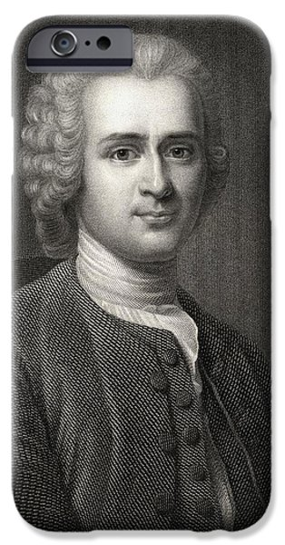 Swiss Drawings iPhone Cases - Jean Jacques Rousseau 1712-1778. Swiss iPhone Case by Ken Welsh