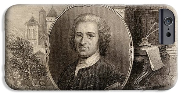 Swiss Drawings iPhone Cases - Jean-jacques Rousseau,1712-1778. Swiss iPhone Case by Ken Welsh