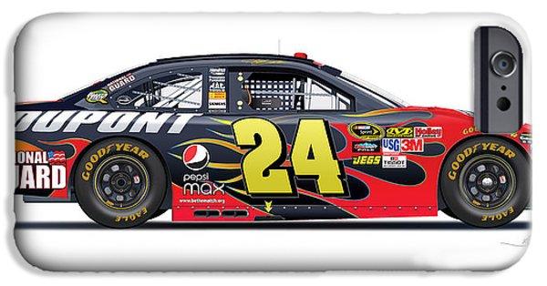 Mechanics Drawings iPhone Cases - Jeff Gordon NASCAR image iPhone Case by Alain Jamar