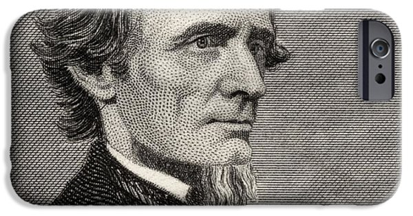 First Black President Drawings iPhone Cases - Jefferson Davis,1808-1889. First And iPhone Case by Ken Welsh