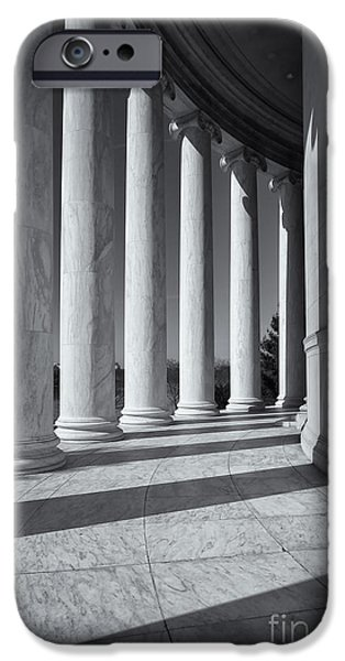 D.c. iPhone Cases - Jefferson Memorial Columns and Shadows iPhone Case by Clarence Holmes