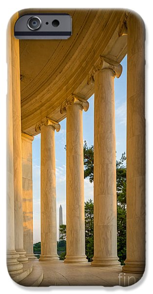 Thomas Jefferson iPhone Cases - Jefferson Memorial Columns iPhone Case by Inge Johnsson