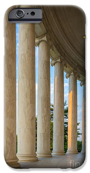 Thomas Jefferson iPhone Cases - Jefferson Memorial Pillars iPhone Case by Inge Johnsson