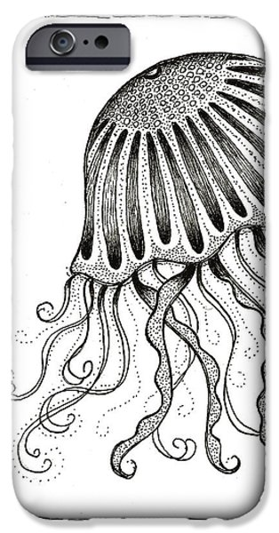 Pen And Ink iPhone Cases - Jelly Fish iPhone Case by Stephanie Troxell