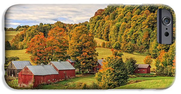 Fall iPhone Cases - Jenne Farm Vermont Landscape Autumn iPhone Case by Edward Fielding