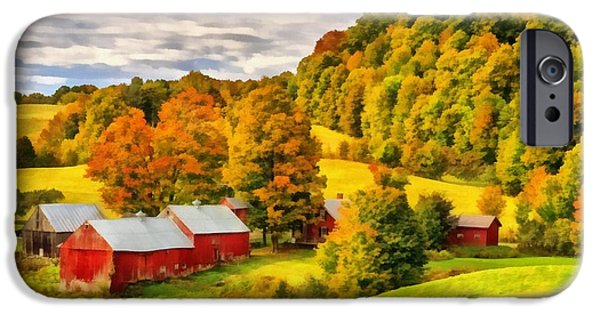 Fall iPhone Cases - Jenne Farm Vermont Painting iPhone Case by Edward Fielding