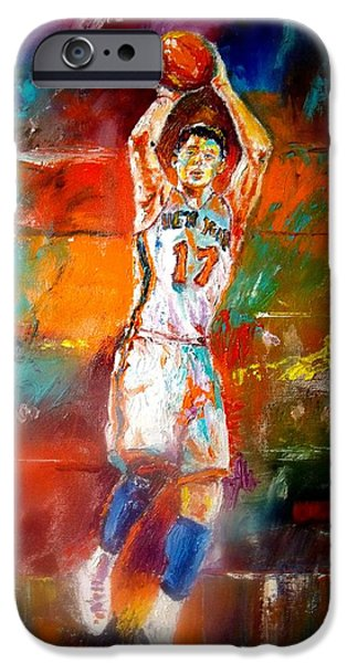 Knicks Paintings iPhone Cases - Jeremy Lin New York Knicks iPhone Case by Leland Castro