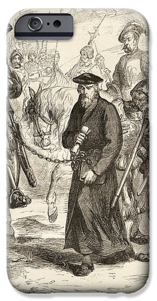 Religious Drawings iPhone Cases - Jerome Of Prague, 1379 To 1416, In iPhone Case by Ken Welsh