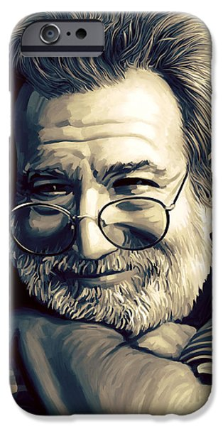 Singer Mixed Media iPhone Cases - Jerry Garcia Artwork  iPhone Case by Sheraz A