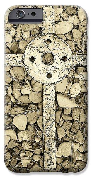 Jerusalem Cross in Sepia Tone iPhone Case by Deborah  Montana