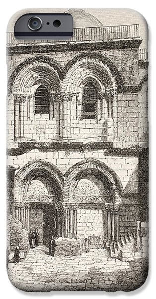 Sepulchre Drawings iPhone Cases - Jerusalem, Palestine. Church Of The iPhone Case by Vintage Design Pics