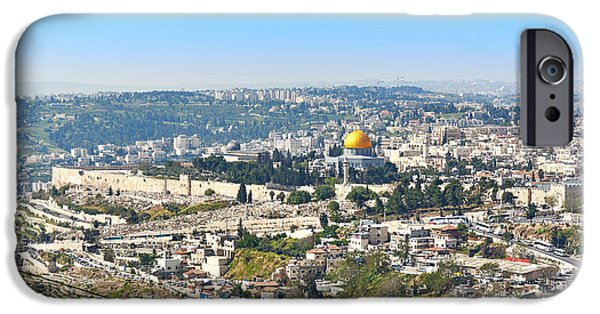 Mounds iPhone Cases - Jerusalem panoramic view iPhone Case by Kyrylo Glivin