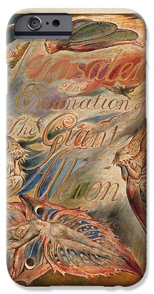 William Blake Drawings iPhone Cases - Jerusalem. Plate 2. Title Page iPhone Case by William Blake