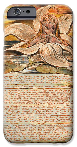 Blake Drawings iPhone Cases - Jerusalem. Plate 28 iPhone Case by William Blake