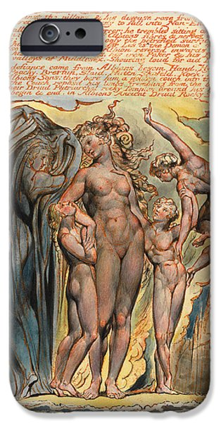 Blake Drawings iPhone Cases - Jerusalem. Plate 32 iPhone Case by William Blake