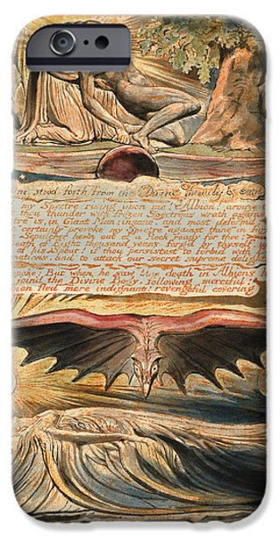 Blake Drawings iPhone Cases - Jerusalem. Plate 37 iPhone Case by William Blake