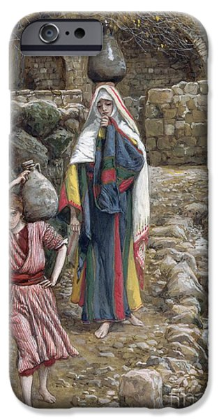 Middle East iPhone Cases - Jesus and His Mother at the Fountain iPhone Case by Tissot